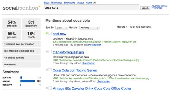 """Análisis de la marca """"Coca Cola"""" con la herramienta """"SocialMention"""""""