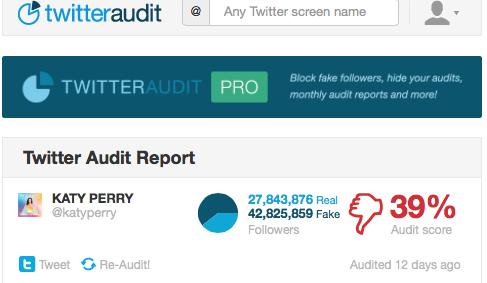 """Comprobación de seguidores Fakes de Katy Perry en su cuenta de Twitter - """"Twitteraudit"""""""