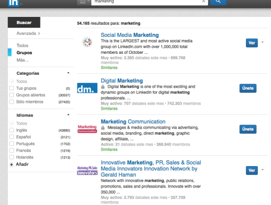 Grupos de Linkedin asociados al Marketing