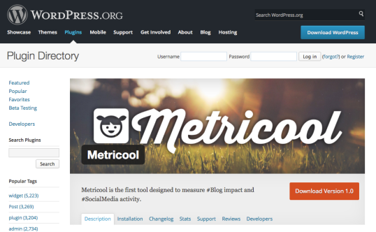 Pagina de descarga del Plugin de Metricool para WordPress.org