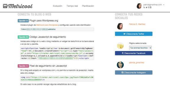 Pagina de conexiones de Metricool - Codigos del blog y redes sociales